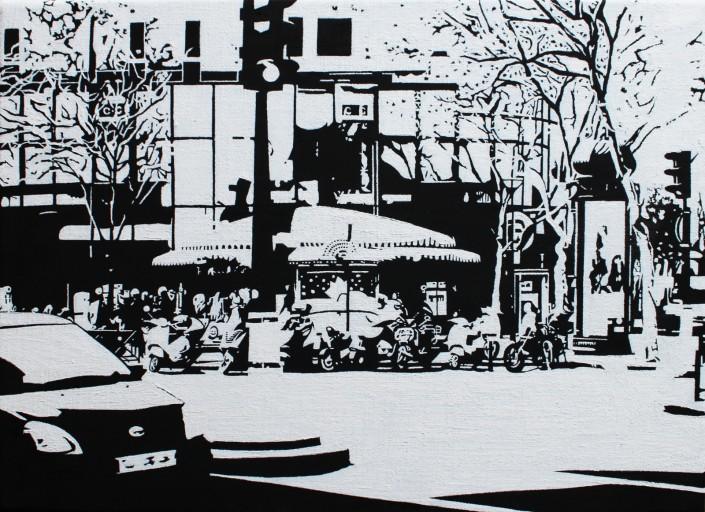 PARIS15_Place Charles Michels, huile sur toile, 24x33cm, 2014