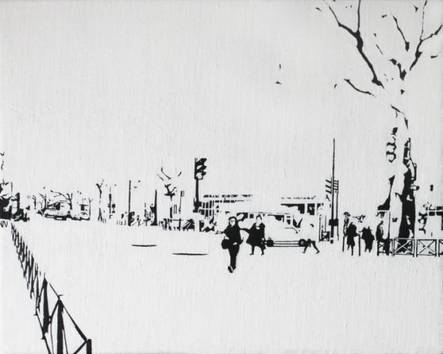 PARIS15_Place Charles Michels #02, huile sur toile, 22x27(cm), 2014