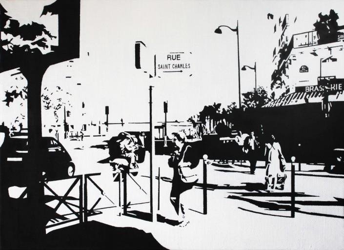 PARIS15_Place Charles Michels #03, huile sur toile, 24x33(cm), 2014