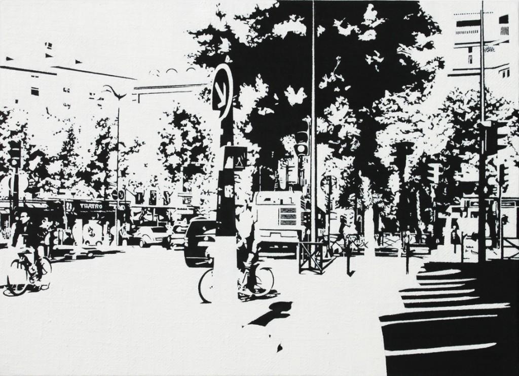 PARIS15_Place Charles Michels #04,  huile sur toile, 24x33cm, 2014