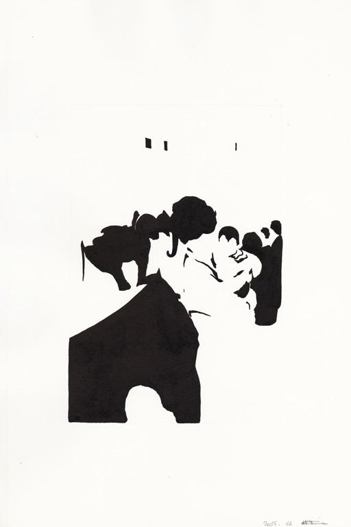 Au zoo avec maman, 2015, encre de chine sur papier, 30 x 20 cm