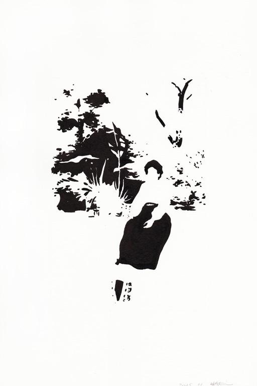 Dame dans son jardin, 2015, encre de chine sur papier, 30 x 20 cm