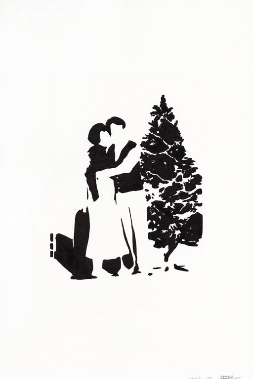 Joyeux noël #01, 2015, encre de chine sur papier, 30 x 20 cm