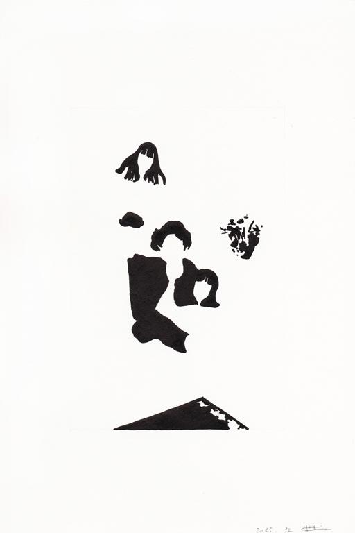 Joyeux noël #02, 2015, encre de chine sur papier, 30 x 20 cm