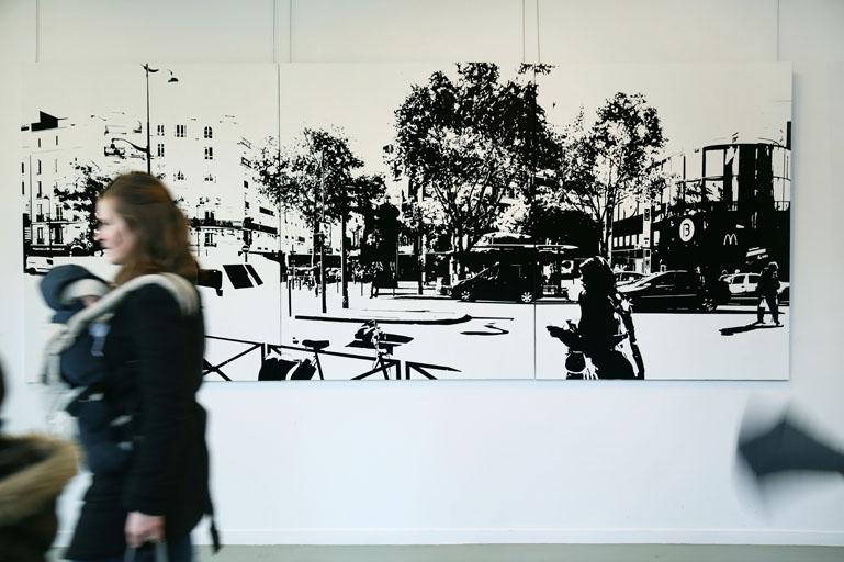 PARIS15_Place Charles Michels #07, 2015, huile sur toile, 162 x 390 cm