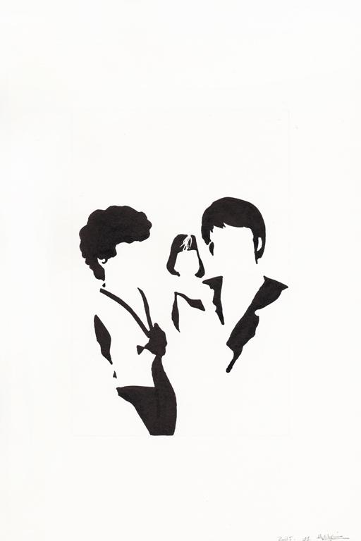 Premier anniversaire, 2015, encre de chine sur papier, 30 x 20 cm