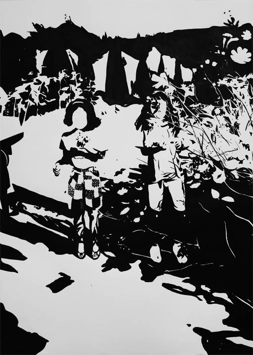Saison des cosmos, 2016, encre sur papier, 70 x 50 cm